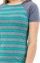 Vestido Capuz Manga Curta Canelado Estampado Listras Cinza e Verde Água