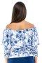 Blusa Cigana Veludo Manga 3/4 Estampa Floral Azul e Branco