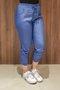 Calça Jogger Tecido Jeans Lisa Azul