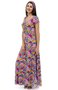 Vestido Márcia Viscolycra Manga Curta Estampa Floral Rosa