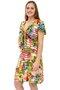 Vestido Cropped Manga Curta Estampa Floral Salmão