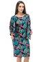Vestido Manga Curta com Casaco Estampa Floral Azul e Laranja