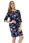Vestido Manga Curta com Casaco Estampa Floral Azul Marinho