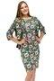 Vestido Manga Curta com Casaco Estampa Floral Verde