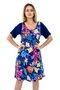 Vestido Manga Curta Viscolycra Estampa Floral Azul