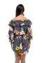 Vestido Manga Flare Viscolycra Estampa Floral com Listras Preto