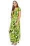 Vestido Short LongoViscolycra Estampa Tropical Verde Claro