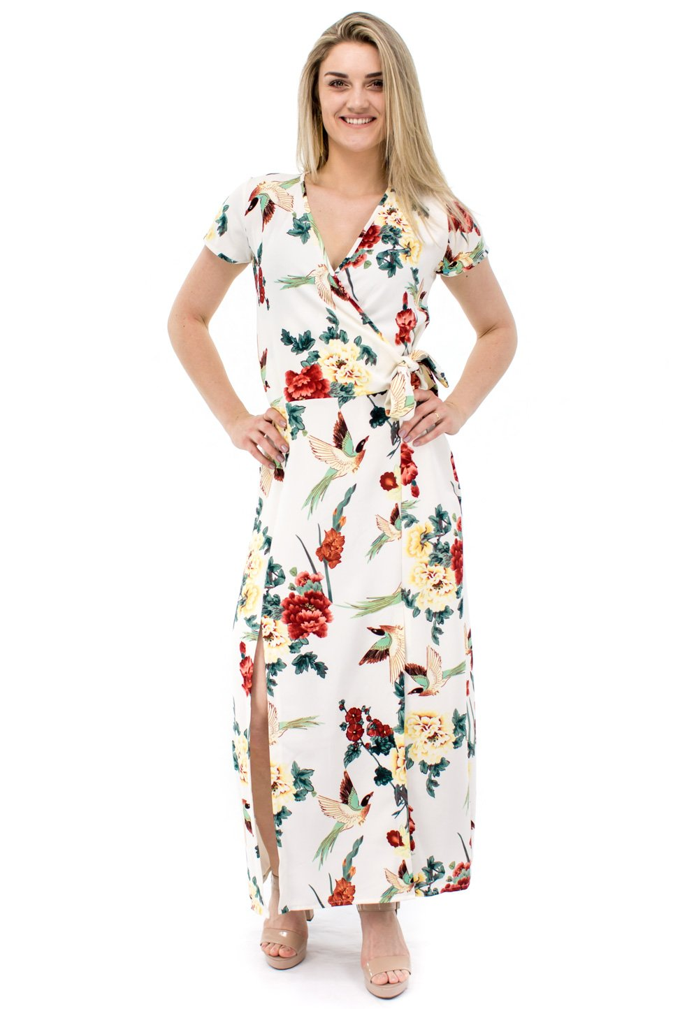e03849891 Vestido Longo Caterine Manga Curta Estampa Floral Branco - Malharia ...