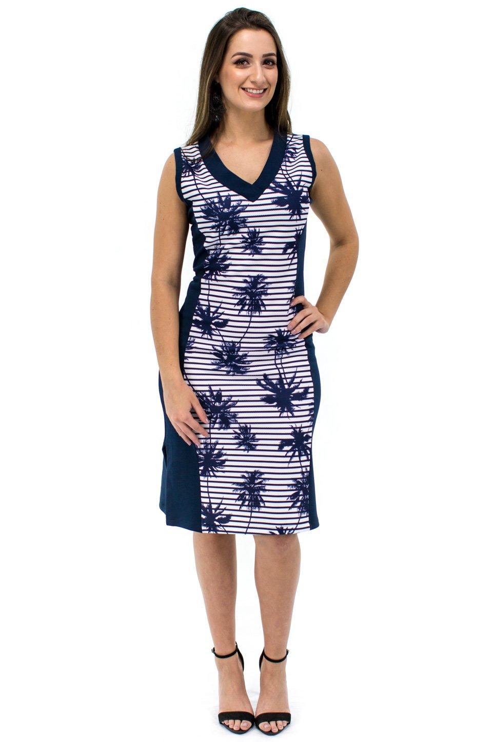 68fb1f8924 Vestido Regata Raissa Estampa Coqueiros Azul Marinho - Malharia Eliani